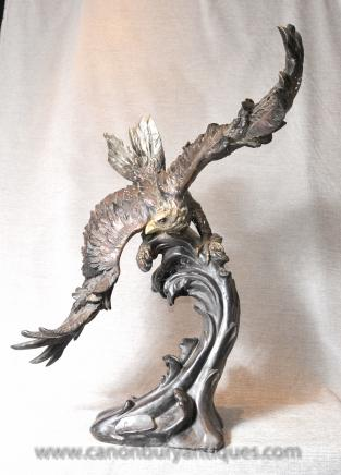 Bronze Eagle Statue Signed American Eagles 3 ft Bird Prey