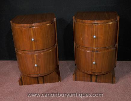 Pair Art Deco Nightstands Bedside Chests Tables 1920s Furniture