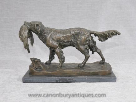 French Bronze Pheasant Hunter Dog by Moigniez Hunting Bronzes