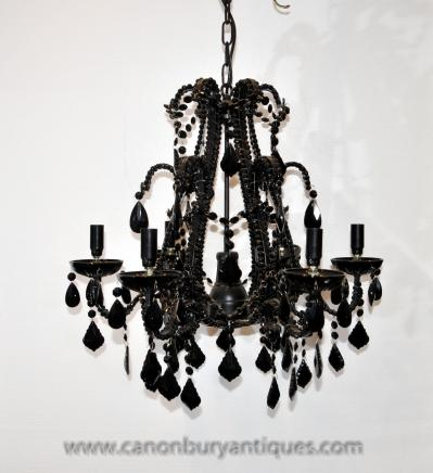 French Empire Black Crystal Glass Chandelier Light