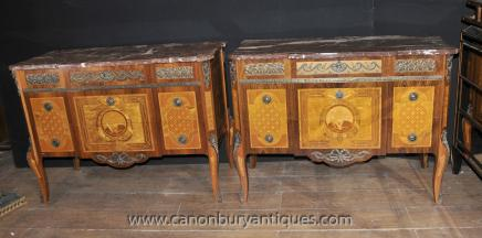 Pair French Commodes - Antique Louis Philippe Chests Drawers Empire Inlay Furniture