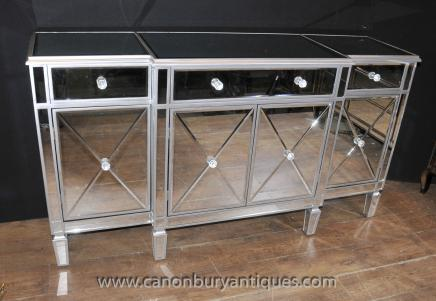 Art Deco Mirrored Sideboard - Breakfront  Server Buffet Mirror Furniture