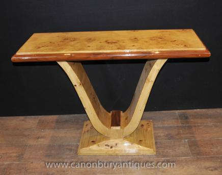 Art Deco Oggee Hall Table Birdseye Maple 1920s Console Tables