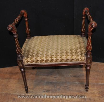 Antique Regency Stool Seat Mahogany Chair