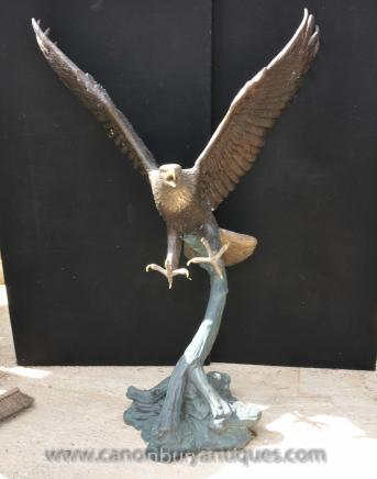Large Bronze American Golden Eagle Statue Birds Eagles 6 Ft