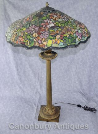 Antique Tiffany Lamp -  French  Bronze Table Light Glass Shade