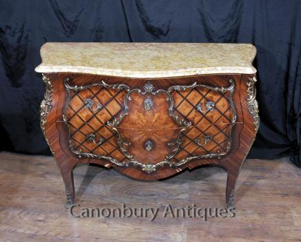 French Bombe Chest of Drawers - Antique Commode Circa 1880