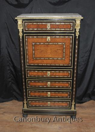 Antique Secretaire Desk - French Napoleon III Inlaid Cabinet Mother Of Pearl Inlay