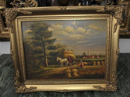 Victorian Oil Painting Rustic Suffolk Landscape