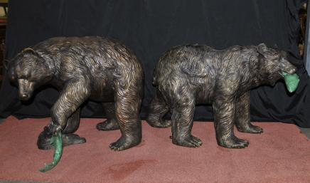 Pair  Bronze American Grizzly Bear Fountains Statues Salmon