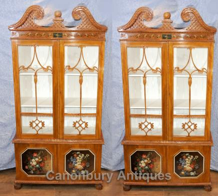 Pair Antique Display Cabinets - Chippendale Glass Fronted  Bookcases Satinwood