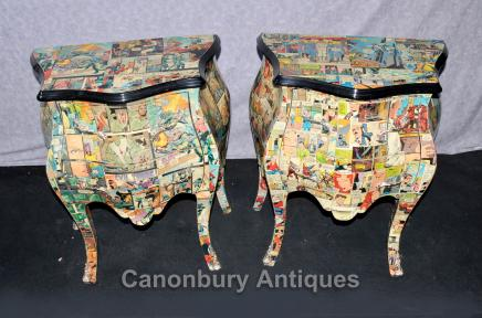 Pair Funky Comic Print Chests of Drawers Deco Commode Bombe