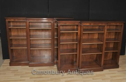Pair Regency Breakfront Bookcases Open Bookcase Flame Mahogany