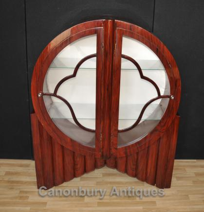 Art Deco Glass Display Cabinet Bookcase Vintage Furniture