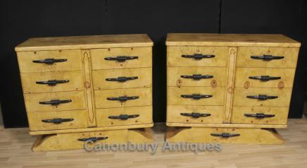 Pair Biedermeier Chests Drawers Birdseye Maple Deco Commmode