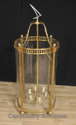 French Empire Brass Lantern Glass Chandelier Lighting Light