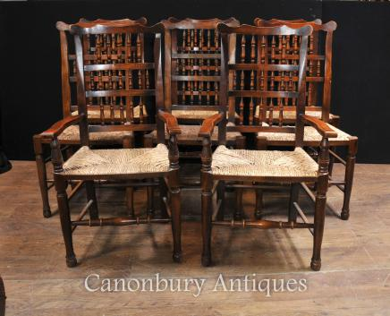 Oak Spindleback Dining Chairs - Set 8 Kitchen Farmhouse Diner