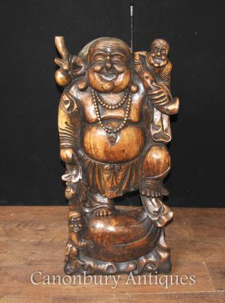 Hand Carved Chinese Happy Buddha Statue Buddhist Buddhism