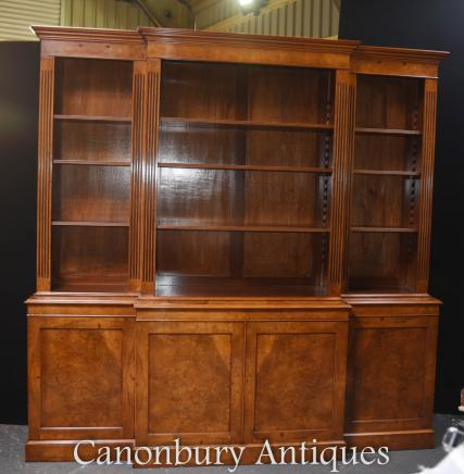 Walnut Breakfront Bookcase - Open  Regency Bookcases