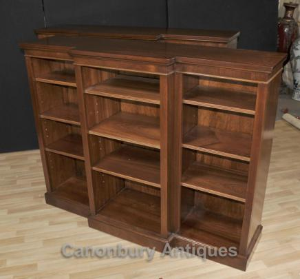 Regency Open Breakfront Bookcase Mahogany Bookcases