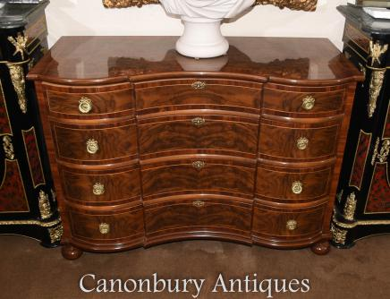 Walnut Regency Bow Front Chest of Drawers Furniture