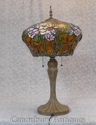 Art Nouveau Tiffany Table Lamp Bronze Light
