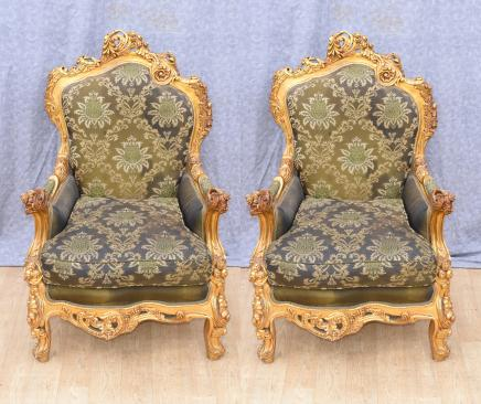 Pair Louis XVI Gilt Arm Chairs Fauteuils French Interiors