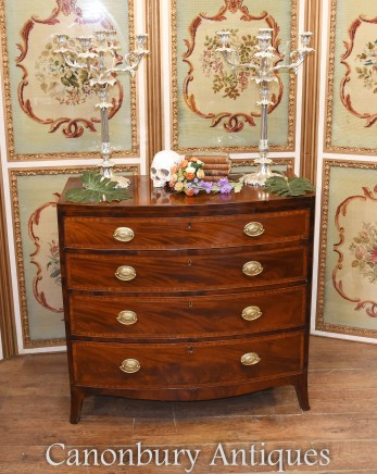 Antique Sheraton Chest Drawers Bow Front Circa 1840