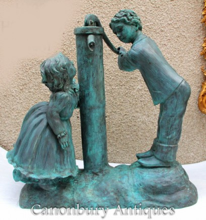 Bronze Water Pump Fountain with Children - Garden Water Feature