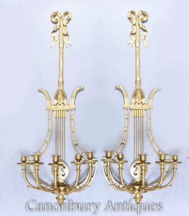 Empire Sconces - French Ormolu Wall Light Candelabras Lyre