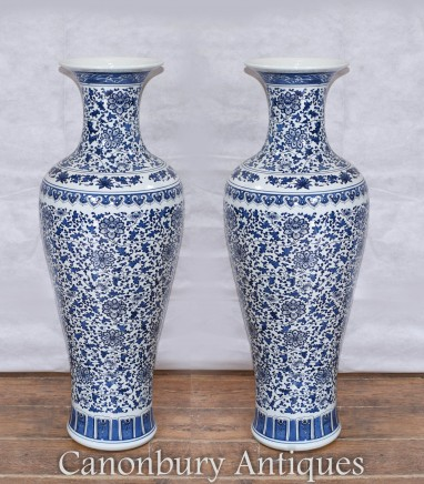 Pair Ming Porcelain Vases - Blue and White Chinese Urns