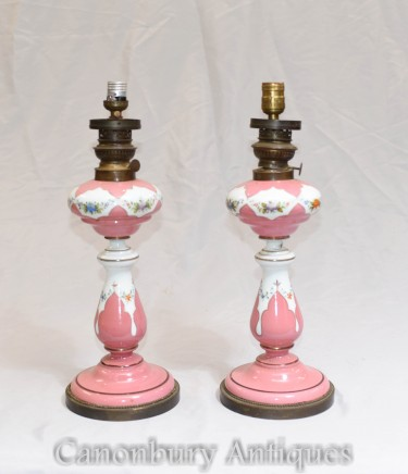 Pair Victorian Table Lamps - Floral Porcelain Lights Lustral