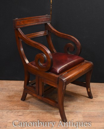 Regency Metamorphic Chair in Mahogany - Libary Steps Ladder