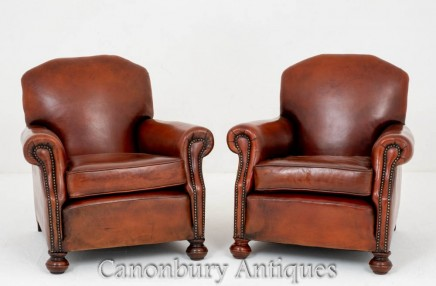 Vintage Deco Club Chairs - Pair Leather Arm Chair 1930