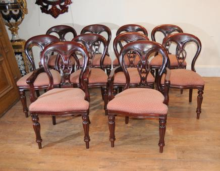 Victorian Dining Chairs - 10 Balloon Back Diners
