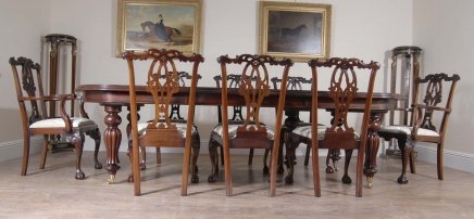 14 foot English Victorian Dining Table & Gothic Chippendale Chair Set