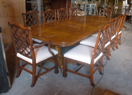14 ft Regency Dining Table & 8 Gothic Chippendale Chairs Set