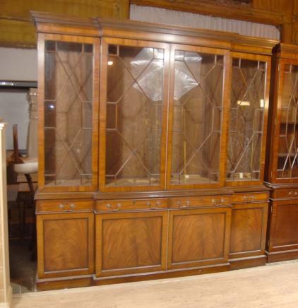 8 ft English Walnut George II Breakfront Bookcase Book Case