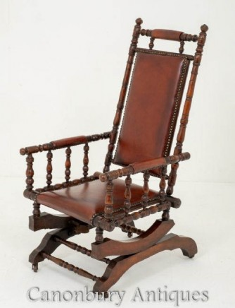 Antique American Rocking Chair in Mahogany Circa 1880