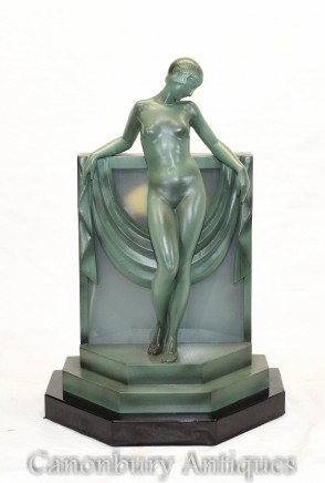Antique Art Deco Lady Lamp by Fayral Figurine