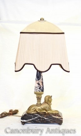 Antique Art Deco Sphinx Lamp - Marble Obelisk Table Light