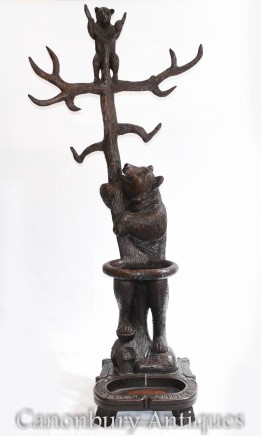 Antique Black Forest Umbrella Hat Stand - Carved Bear 1890