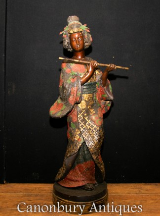 Antique Bronze Japanese Geisha Girl Statue Circa 1900