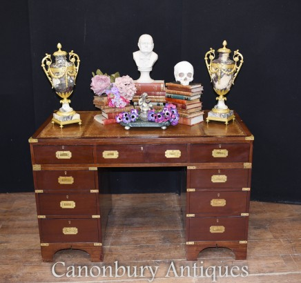 Antique Campaign Desk - Mahogany Colonial Table 1930