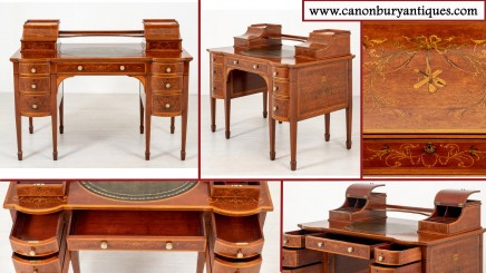 Antique Carlton House Desk - Mahogany Regency Bureau 1880