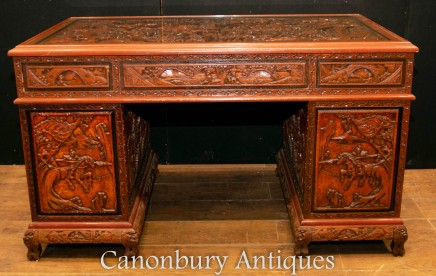 Antique Chinese Desk - Carved Pedestal Desk Circa 1890 - Antique Dining Tables, Desks, Chairs, Reproduction Furniture, Dining