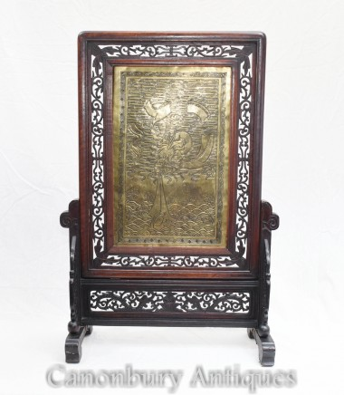 Antique Chinese Screen Hardwood Brass Plaque Circa 1890