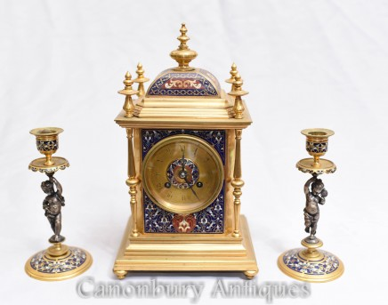 Antique Clock Set Champleve Enamel - French Garniture 1880