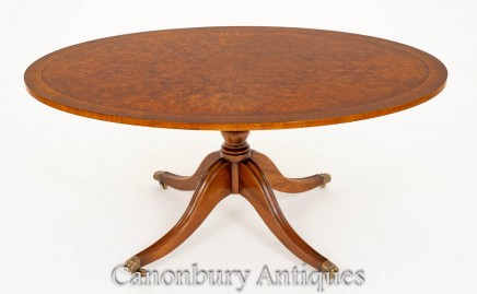 Antique Coffee Table - Burr Walnut Oval Top