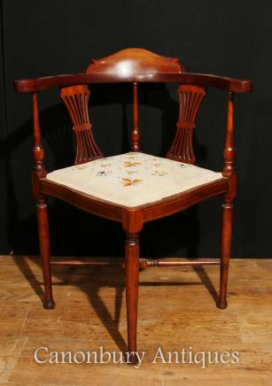 Antique Edwardian Corner Chair Seat Mahogany Inlay 1910